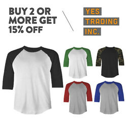 MENS CASUAL RAGLAN TEE PLAIN BASEBALL T SHIRT 34 SLEEVE SHIRTS CAMO SOLID EVENT