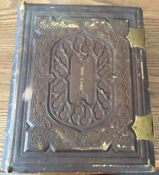1873 Leather Deep Tooling Family Holy Bible Old and New Testaments Providence