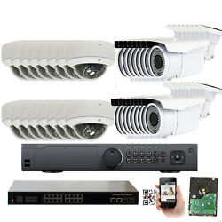 New 32CH HDM NVR 1920P 5MP ONVIF PoE IP CCTV Security Camera System 5TB Outdoor