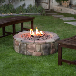 Outdoor Fire Pit Natural Gas Backyard Patio Stone Heater Fireplace 36