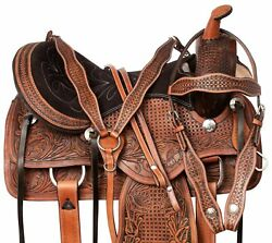 COMFY WESTERN SHOW HORSE FLASHY PINK BLING TOOLED LEATHER TACK SET 14 15 16