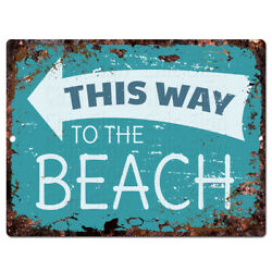 PP4243 This way to the Beach Rustic Chic Tin Sign Decor Gift Ideas $19.95