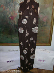 EMILIO PUCCI Brown CASHMERE SHAWL WRAP Beige Gold MINT See SKIRT
