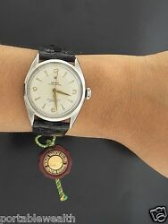 Rolex Watch 6084 Factory Dial Original Rolex Leather Band Stainless Vintage