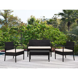 4 Piece Outdoor San Juan Rattan Table and Chair Set Black Patio Porch Furniture
