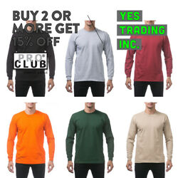 PROCLUB PRO CLUB MENS PLAIN LONG SLEEVE T SHIRT HEAVYWEIGHT CASUAL BIG AND TALL $12.70