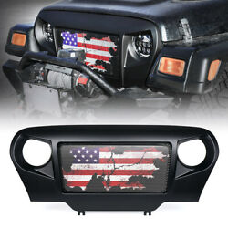 New Matte Black Angry Spartan Grille Flag Steel Mesh for Jeep Wrangler TJ #x27;97 06 $99.99