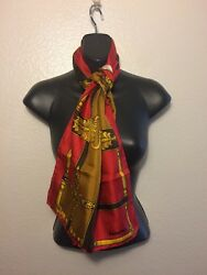 Jacqmar Red Gold Lion Baroque Scarf 14