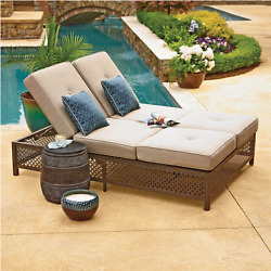 Double Chaise Lounger with Geobella Fabric Outdoor Luxury DayBed Patio Furniture