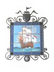 California Tile Spanish Galleon Mural w Forged Wrought Iron Bushere