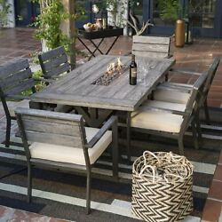 Propane Gas Fire Pit Patio Dining Set Table Chairs Cushions Outdoor Furniture