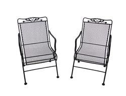 Chocolate Brown Patio Action Chairs (2 Pack) Outdoor Garden Rocking Wrought Iron