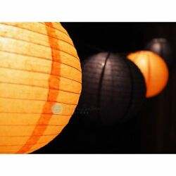 Halloween Cord and Paper Lantern String Light paper lanterns with lights