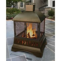 Outdoor Wood Burning Fireplace Portable Heating Brown Finish Centerpiece Patio