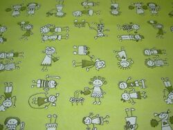 19 68 YDS MODERN STICK FIGURE CHILDREN AT PLAY WOVEN UPHOLSTERY FABRIC FOR LESS