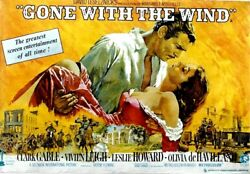 Original vintage poster GONE WITH THE WIND CLARK GABLE 1967