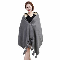 Wide Womens Wool and Cashmere Wraps Rabbit Fur Ball Shawls Grey Onesize MEEFUR