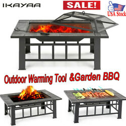 iKayaa Table Shape Metal Garden Fire Pit Fireplace BBQ Grill with Cover