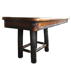 Hickory Rustic Trestle Dining Table with Leaves - 60