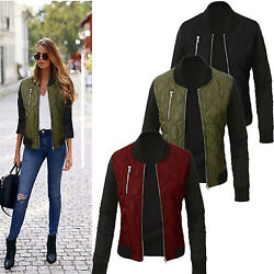 Women Ladies Winter Quilted Padded Bomber Jacket Check Zipper Up Biker Coat New