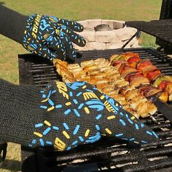 Silicone Oven Mitts BBQ Grilling Fireplace Wood Burning Stove Women Gloves-Black