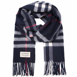 100% Authentic Burberry The Classic Cashmere Scarf in Check BlueNavyRed