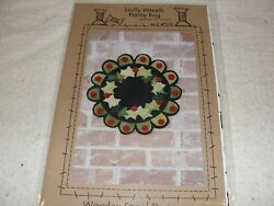 HOLLY WREATH Christmas Wool Applique Penny Rug Pattern Wooden Spool Designs