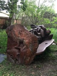 Redwood Bench Chainsaw Carved