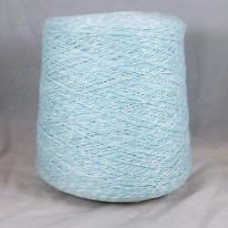63% Linen 37% Cashmere Yarn Cone Lot Baby Blue Fingering wt Knit Weave Crochet