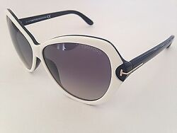 Tom Ford Valentina Sunglasses New Authentic Large Butterfly White Black FT0326
