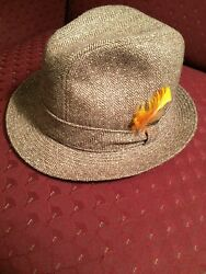 Stetson mens hat cotton (wool?) brown tweed    Size 7 14. Perfect used conditi