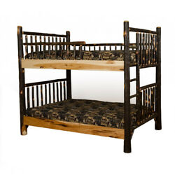 Rustic Hickory Mission Style Queen over Queen Bunk Bed - Amish Made in USA