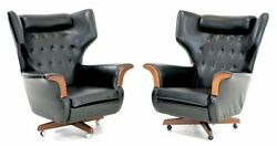 Mid Century Pair Of G Plan Modern WING-BACK LOUNGE CHAIRS