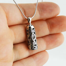 Mezuzah with Star of David Necklace 925 Sterling Silver Jewish Pendant Gift SN $26.00