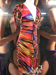 Authentic VINTAGE GIANNI VERSACE COUTURE Silk Ruffle Multicolor Dress w TAGS!