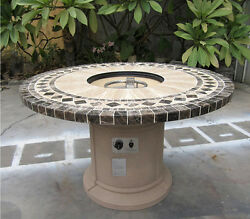 Outdoor Gas Fire Pit Dining Table w Emperador Dark Marble Inlay Top Backyard