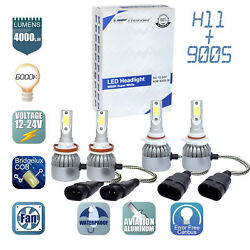 2Pair 9005 + H11 Combo LED Headlight Low High Beams Light Kit Bulbs 6000K 🔥🔥🔥