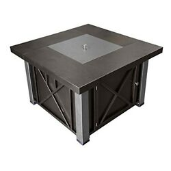 Outdoor Fireplace Stainless Silver W Lid Propane Table Fire Pit Patio Backyard