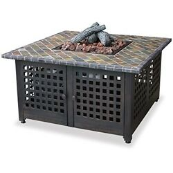 Outdoor Fireplace W Slate Marble Mant LP Gas Table Fire Pit Heater Patio New