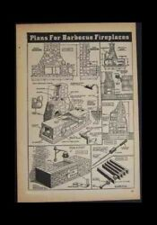 Outdoor BARBECUE FIREPLACE BBQ GRILL 1939 Design PLANS