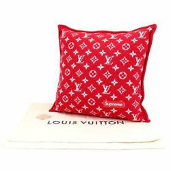 LOUIS VUITTON × Supreme Collaboration Cushion Wool Cashmere Red White Mint Rare