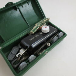 Vintage Singer Buttonholer in Box Extra Templates Metal Green Case Sewing Supply