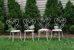 Antique French Metal Chairs Garden Patio Set of 4
