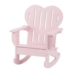 18 Inch Doll Furniture  Pink Outdoor Adirondack Rocking Chair with Heart Shaped