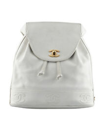 Chanel Vintage White Caviar Leather Backpack
