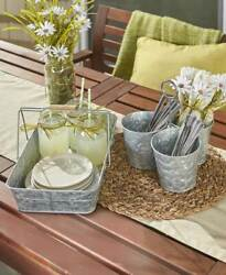 GALVANIZED SERVING TRAY or UTENSIL CADDY STORAGE Country Picnic Lake Pool Party