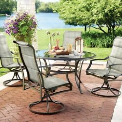 5pc Outdoor Patio Dining Set Furniture w Glass Top Table and Swivel Chairs Deck