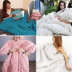 Fashion Hand Chunky Knitted Blanket Thick Merino Wool Bulky Knitting Throw #CD