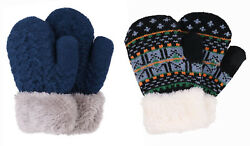 Winter Warm Gloves Kids 2 Pairs Sherpa Lined Knitted Gloves Boys Girls Mittens $13.98