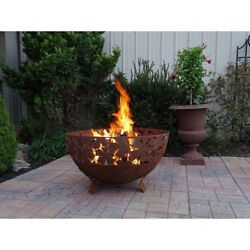 Wood Burning Fire Pit Leaves Pattern Extra Large Bowl Rustic Steel Outdoor Patio